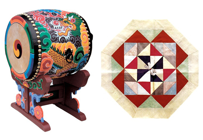 Traditional Korean dragon drum and bojagi wrapping cloth