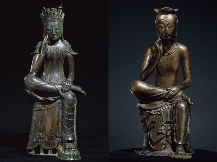 Gilt-bronze seated Buddha statue of Korea