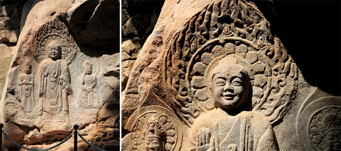 Rock-carved triad Buddha statue of Korea