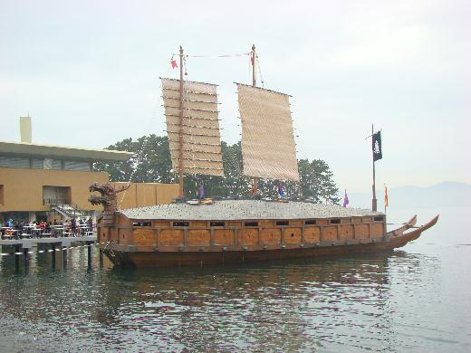 Restored turtle ship in Korean Naval Academy