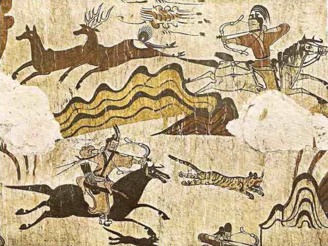 Ancient Goguryeo tomb wall painting of hunting scene
