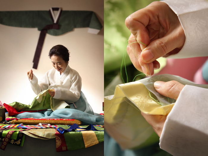Hanbok making with traditional needlework