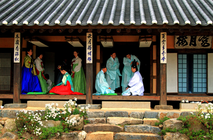 Traditional Korean coming-of-age ceremony in hanok
