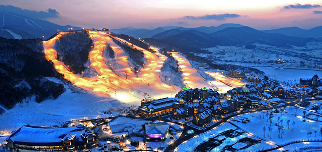 Alpensia night ski snow