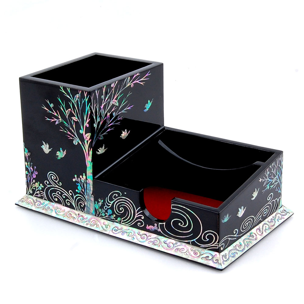 Mother Of Pearl Pen Cup Holder With Bird And Tree Design