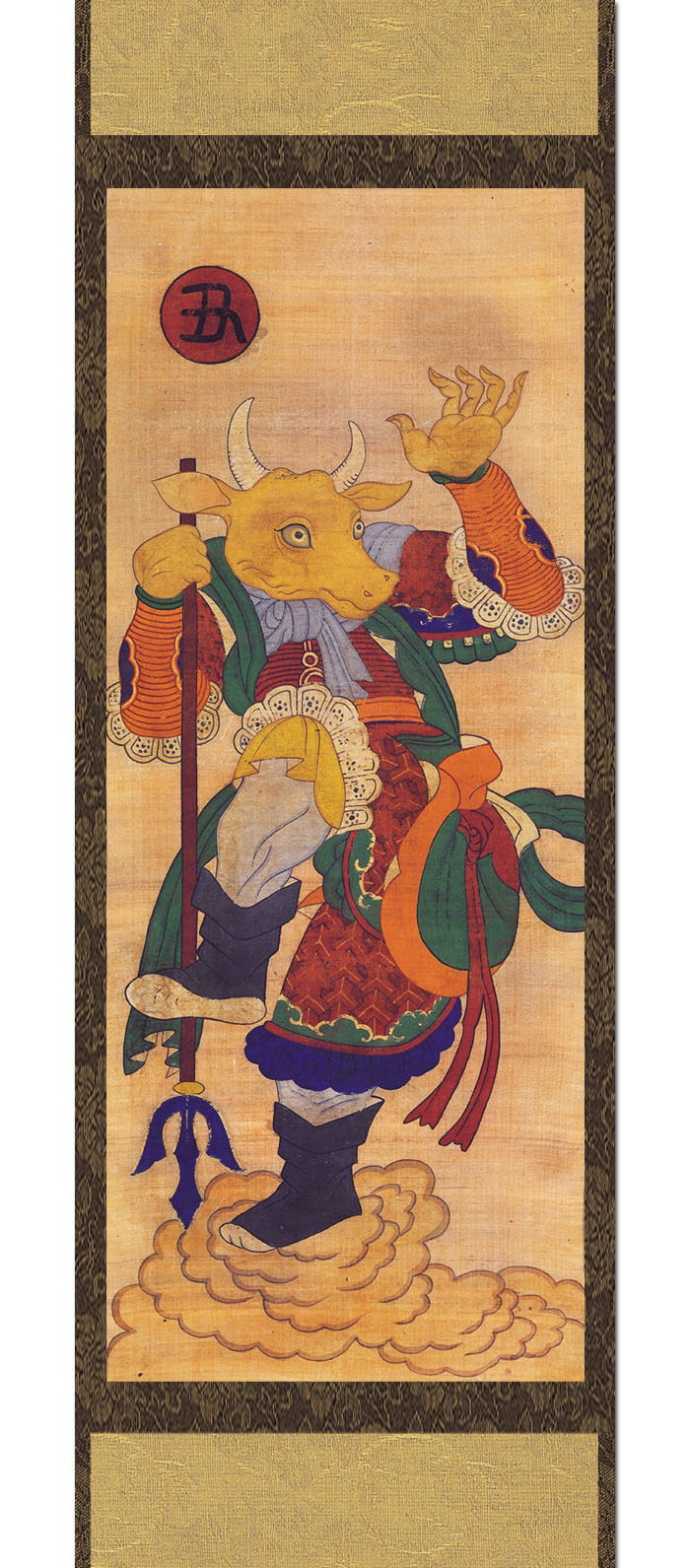 Chinese Zodiac Ox Hanging Scroll Painting: 12 Animals Guardian Deity