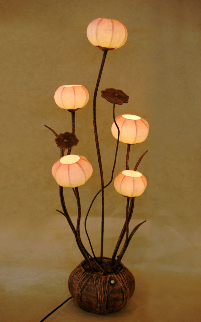 Paper Floor Lamp Shades With Five Flower Bud Lantern