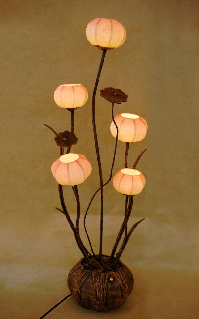 floor paper lamp shades with five flower buds antique alive. Black Bedroom Furniture Sets. Home Design Ideas