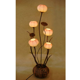 Paper lamps antique alive paper floor lamp shades with five flower bud lantern lights aloadofball Image collections