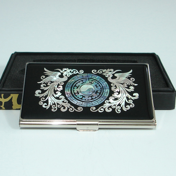 Custom business card holder with mother of pearl phoenix and yin custom business card holder with mother of pearl phoenix and yin yang colourmoves