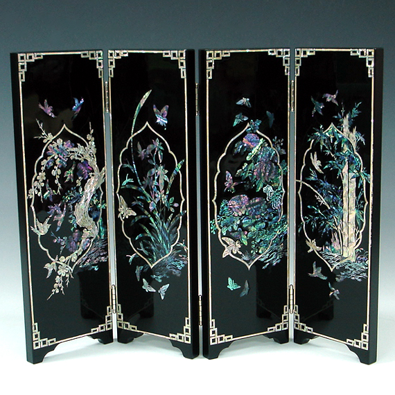 Mother Of Pearl Inlay Wooden Mini Folding Screen Asian: - Antique Alive