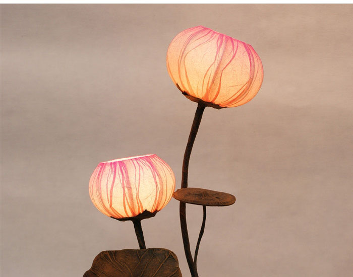 Paper table lamp shade with two lotus flower buds lantern lights paper table lamp shade with two lotus flower buds lantern lights antique alive aloadofball Image collections