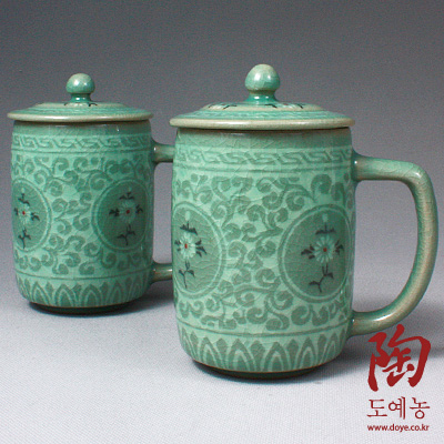 Set Of 2 Celadon Ceramic Mugs With Lids