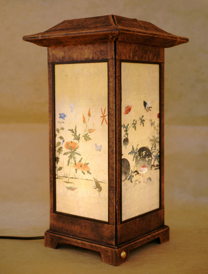 Paper lamps antique alive paper lamp table lantern light with grass and insect painting aloadofball Images