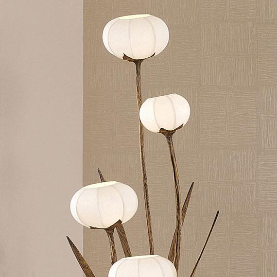 paper floor lamp shade with five flower bud lantern lights antique. Black Bedroom Furniture Sets. Home Design Ideas