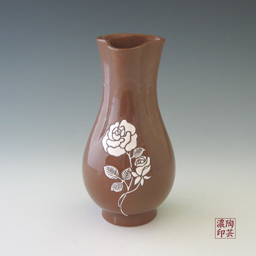 Brown Pottery Vase Buncheong With White Rose Design Antique Alive