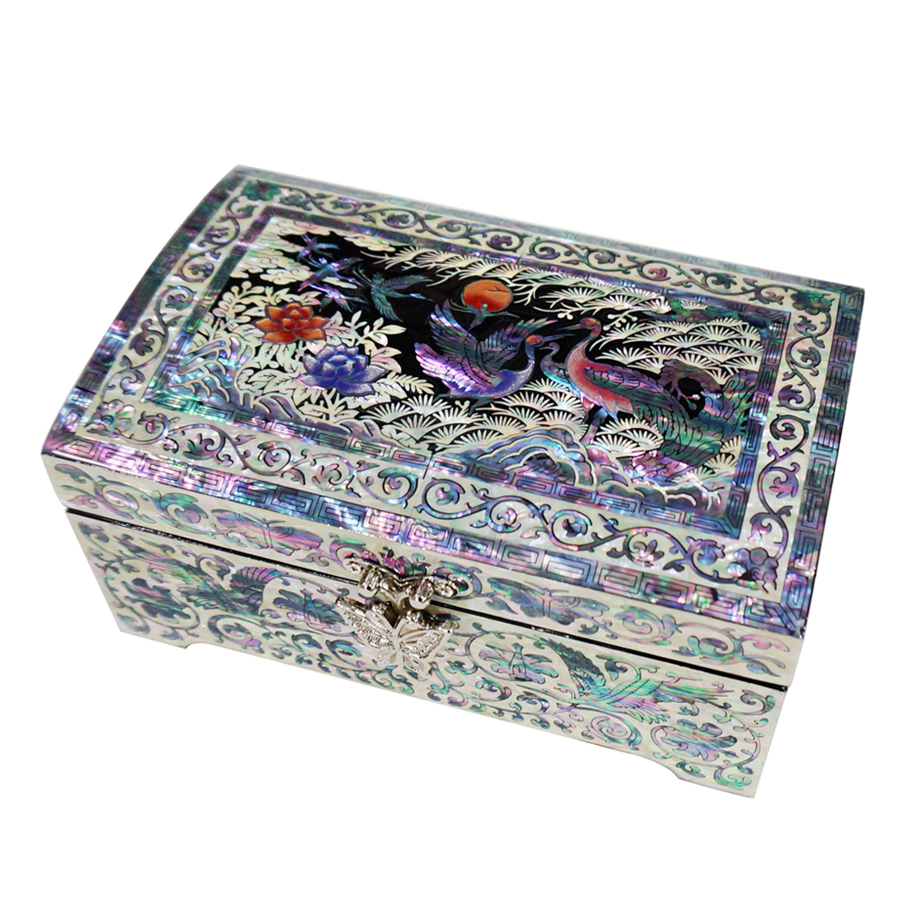 Decorative Boxes That Lock : Mother of pearl lacquer wood decorative lock jewelry