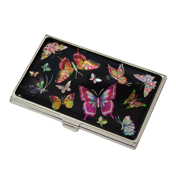 Mother of pearl womens business card holder with butterfly design mother of pearl womens business card holder with butterfly design colourmoves