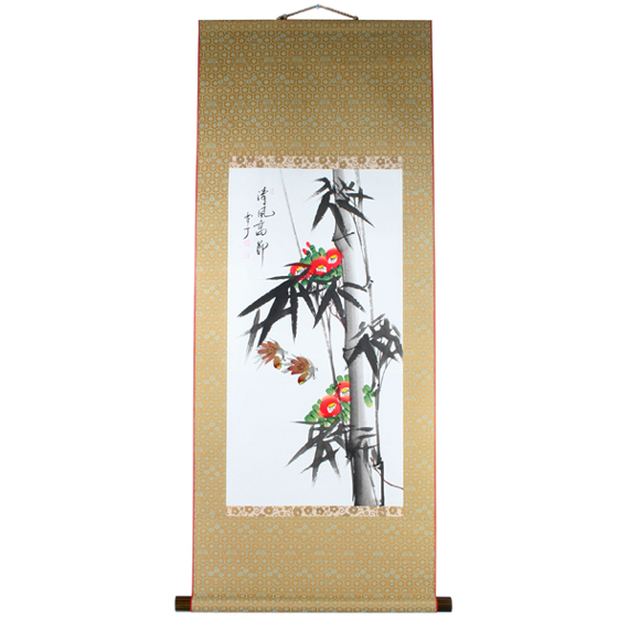 Antique Chinese Scrolls: Calligraphy Wall Asian Bamboo Scroll Camellia Painting