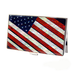 Business card holder antique alive mother of pearl business card holder with american flag design colourmoves Gallery
