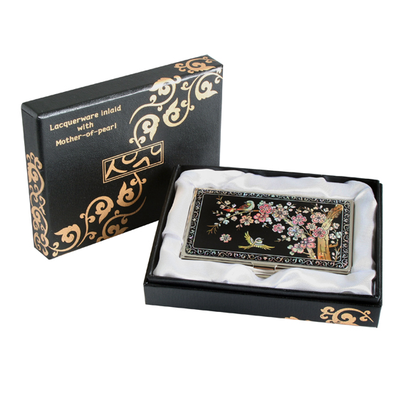 Engraved business card holder with mother of pearl korean plum engraved business card holder with mother of pearl korean plum flower colourmoves