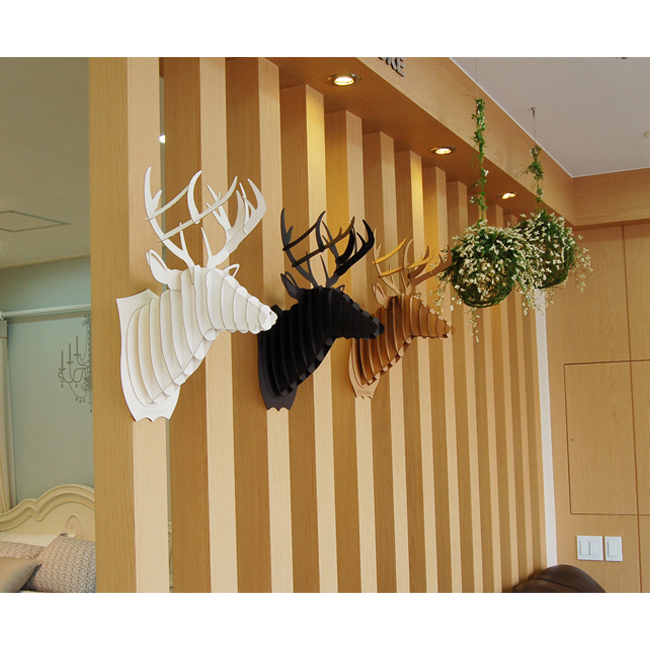 White deer head 3d puzzle jigsaw diy art paper model wall for Decoration murale 1 wall