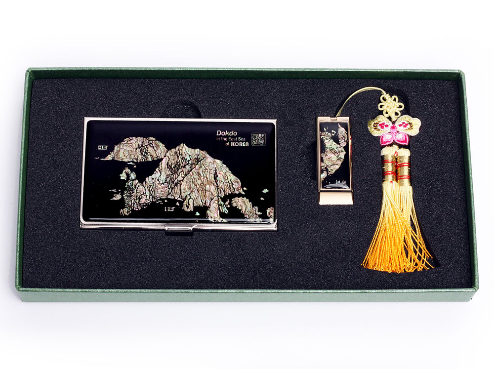 Mother of Pearl USB Memory Stick Business Card Case Set with Dokdo ...