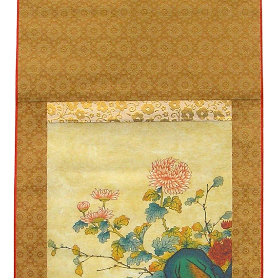 Ducks Korean Folk Painting Wall Hanging Silk Scroll with Flowers ...
