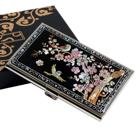 Keychain Business Card Holder Set With Mother Of Pearl Korean Plum