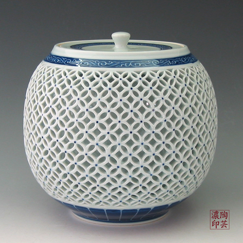 White Porcelain Cookie Jar With Blue Double Layer Openwork