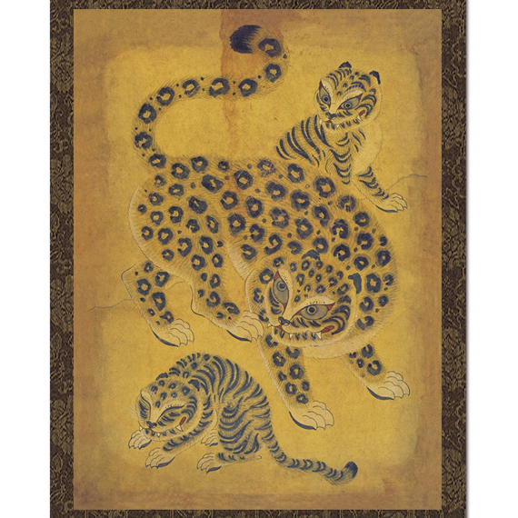 Leopard Painting Asian Folk Wall Hanging Scroll Antique
