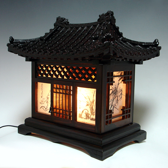 Wood Lamp Shade With Traditional Korean House Design