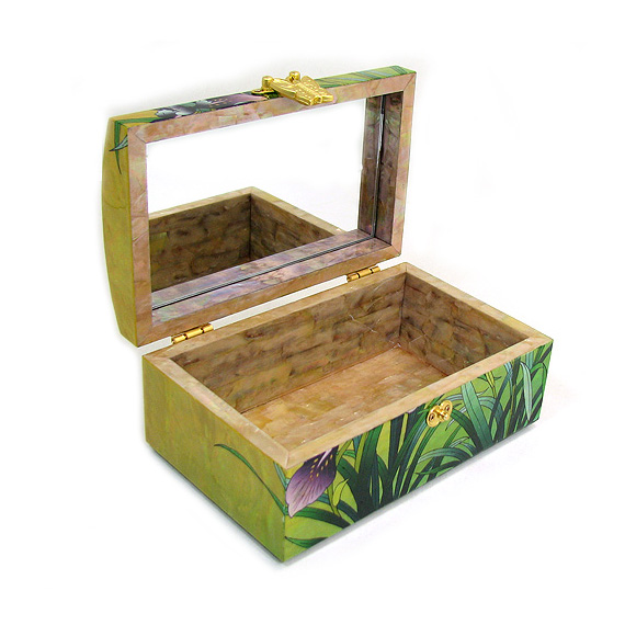 Men Jewelry Box with Mother of Pearl Wood Orchid Design Antique Alive