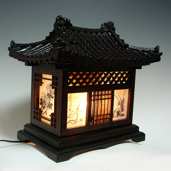 Wood art shade korean house decorative lantern bedside - Traditional table lamps for bedroom ...