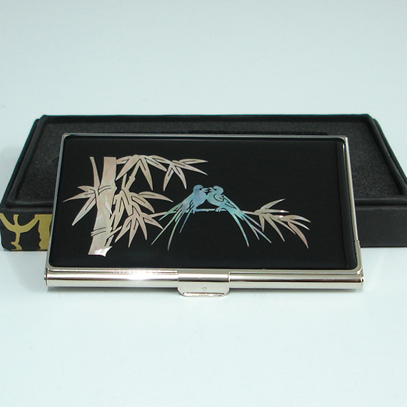 Promotional business card holder with mother of pearl for Promotional business card holder
