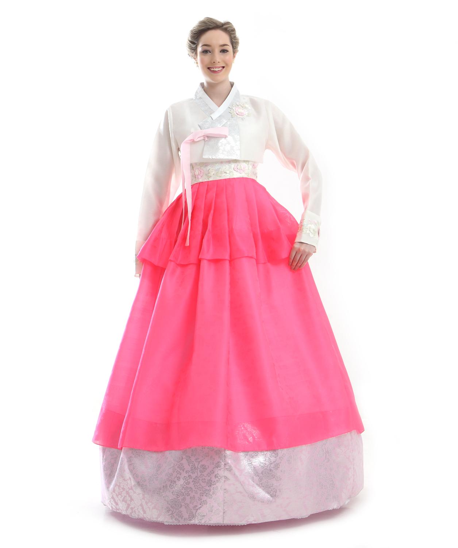 Faux silk red white evening party hanbok korean dress antique alive