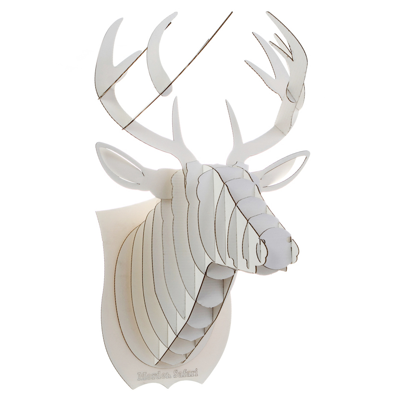 white deer head 3d puzzle jigsaw diy art paper model wall decor kit antique alive