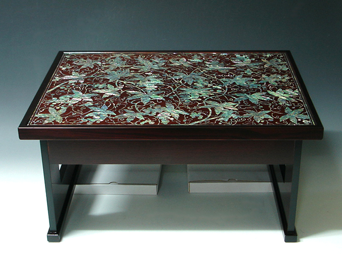Mother Of Pearl Coffee Table Decor With Lacquer Ash Wood Grape   Antique  Alive