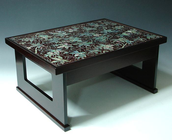 Mother Of Pearl Coffee Table Decor With Lacquer Ash Wood Grape