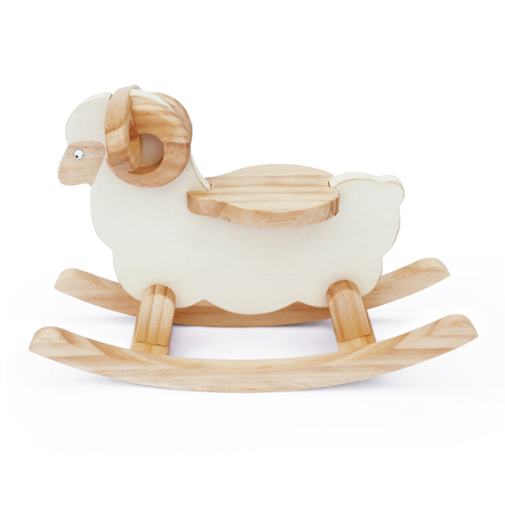 Miniature Wooden Rocking Sheep Home Decor Ornament
