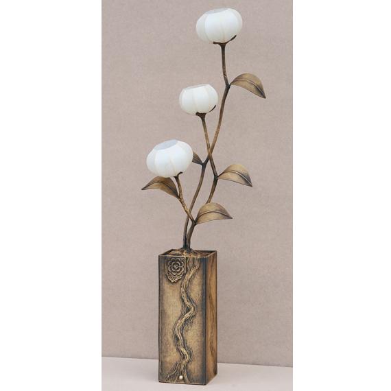 Flower Pot Paper Floor Lamp Shade With White Magnolia Design
