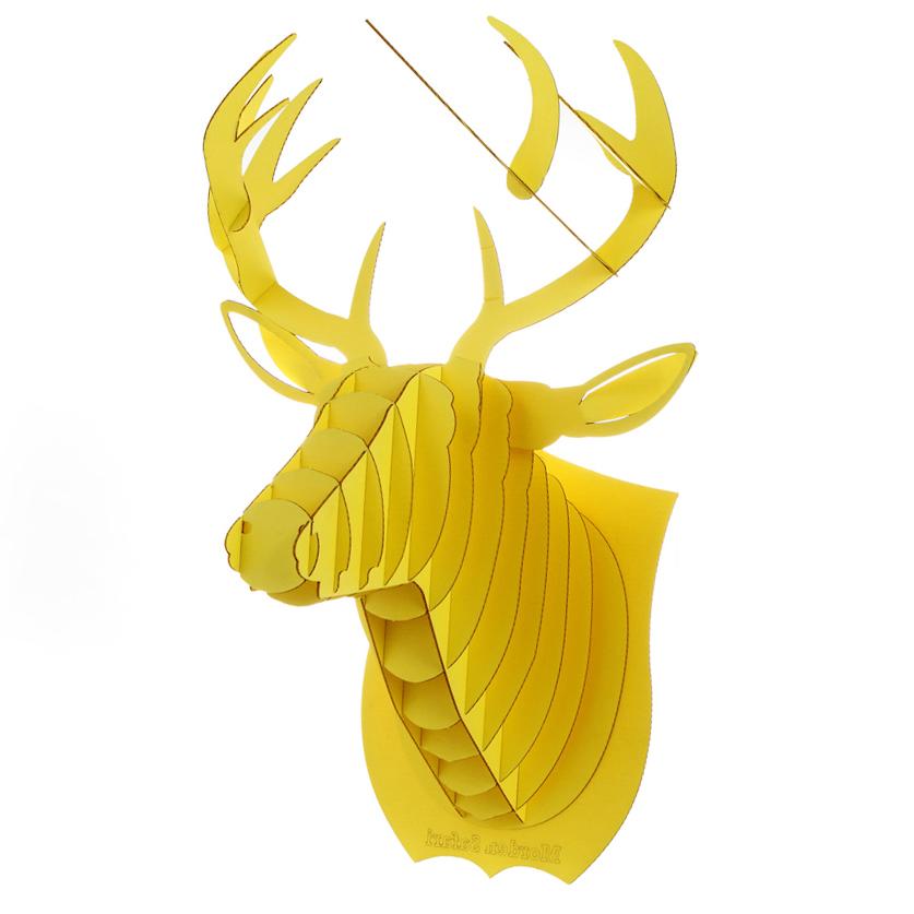 Yellow Deer Head 3D Puzzle Jigsaw DIY Art Paper Model Wall Decor Kit ...