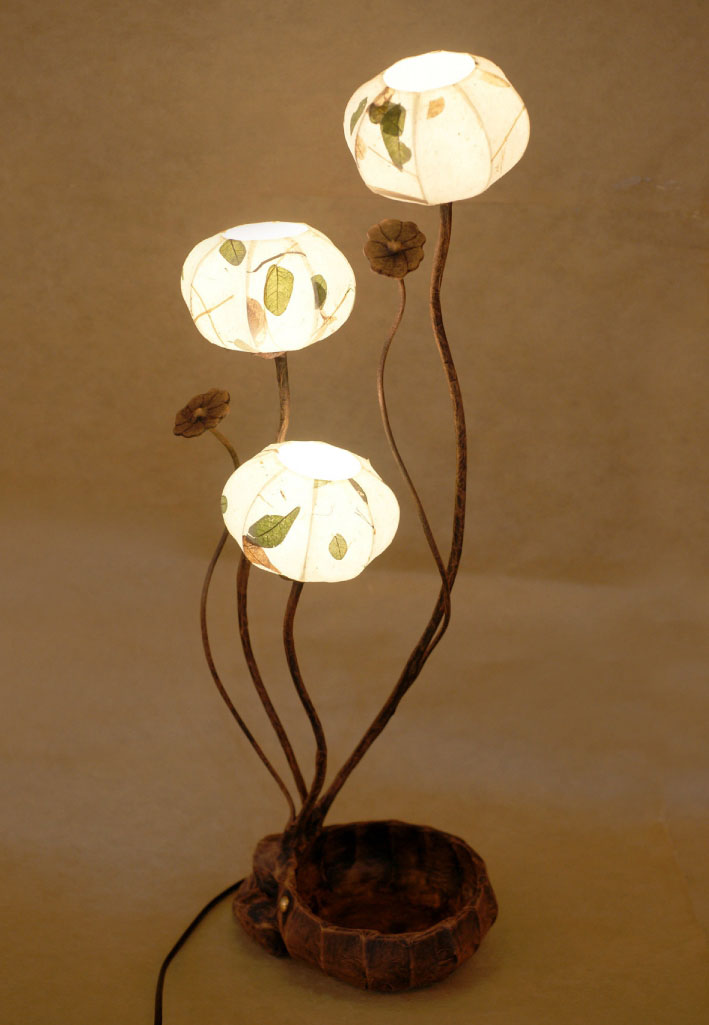 Paper lamp shade with three leaf design lights antique alive mozeypictures Choice Image