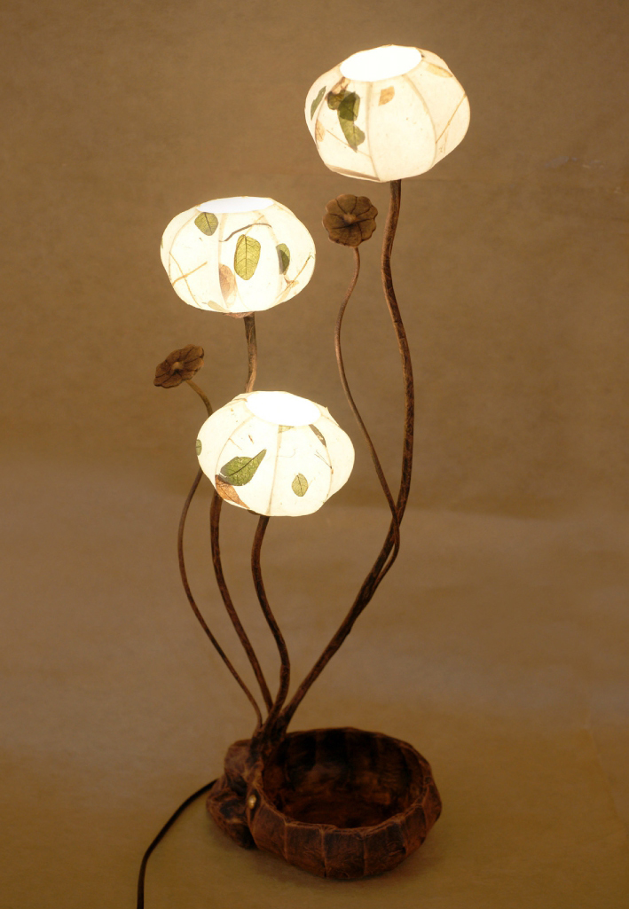 Korean Mulberry Paper Table Lamp Shade With Three Leaf