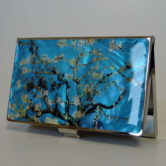 Mother of pearl business card holder with almond blossoms by van mother of pearl business card holder with almond blossoms by van gogh colourmoves