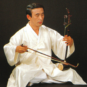 Haegeum Korean two-stringed vertical fiddle player