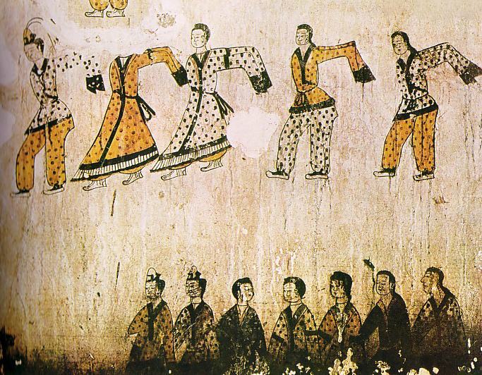 Ancient Korean tomb wall painting depicting dance