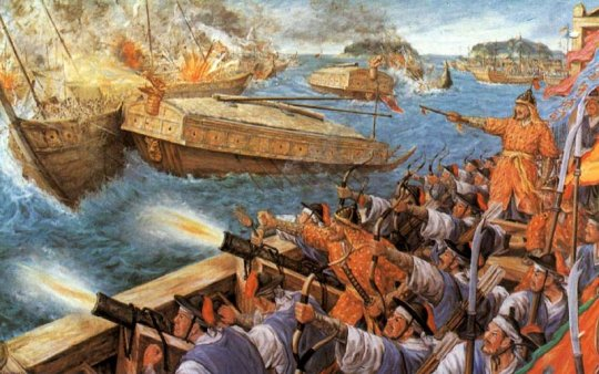 Painting depicting turtle battleship in battle