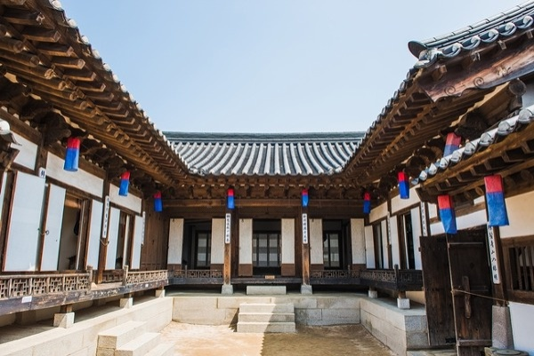 Hanok made with stone base wood pillars hanji door clay roof