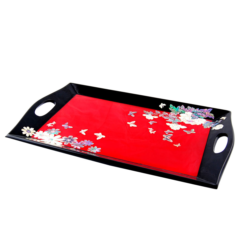 Mother of pearl antique alive mother of pearl inlay tea tray with red flower design magicingreecefo Image collections